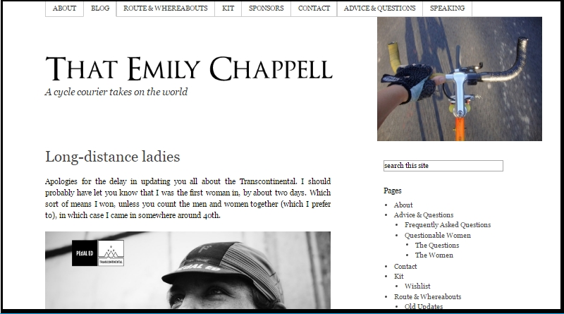 Emily Chappell cycling around the world