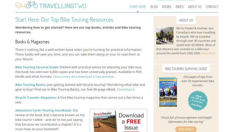 travelling two bicycle touring website